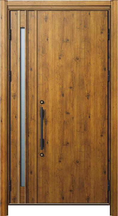 簡単ドアリモ玄関ドア 断熱タイプ C10 親子 外額縁80 丸型ストレート ブラック 子扉:K80N