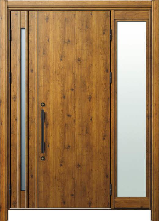 簡単ドアリモ玄関ドア 断熱タイプ C10 袖付親子 外額縁80 丸型ストレート ブラック 子扉:K08N
