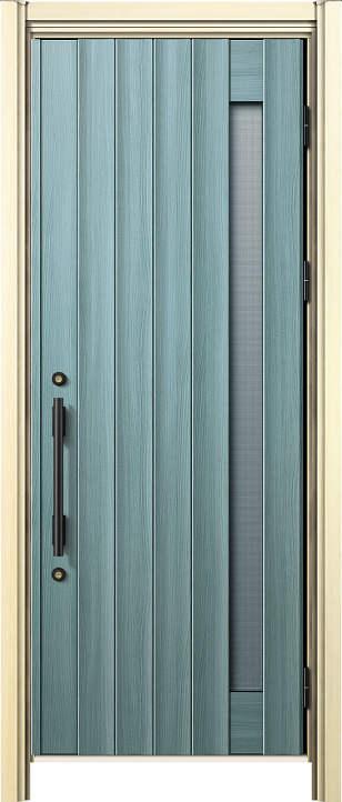 簡単ドアリモ玄関ドア 断熱タイプ N05T 通風 片開き 外額縁80 丸型ストレート ブラック